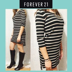 🌸 Forever 21 Black Cream Stripped Sweater Dress